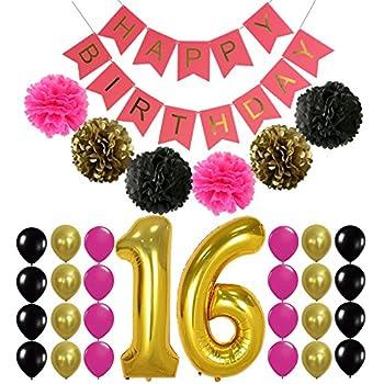 Amazon Com Sweet 16 Birthday Party Balloons 16th Birthday Happy Birthday Wishes Sweet 16