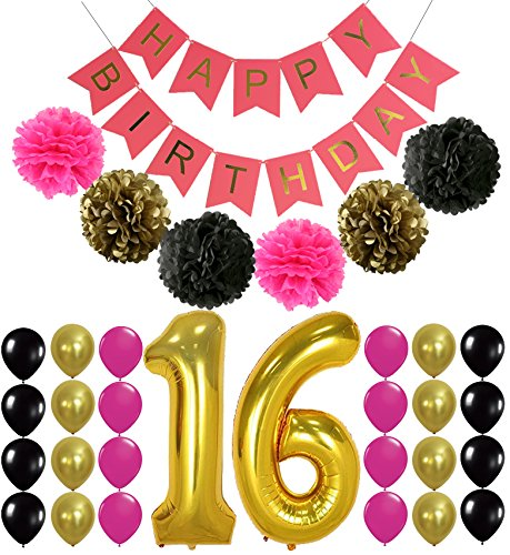 16th BIRTHDAY PARTY SUPPLIES DECORATIONS - Hot Pink Happy Birthday Banner Sign, Number 16 Mylar Balloon,Pink Gold Black Latex Ballon, Great Sweet 16 Party Supplies Free Printable Bday (Sweet 16 Balloons)