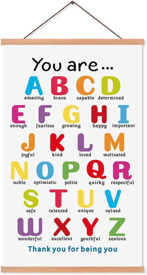 KAIRNE Colorful ABC Alphabet Art Print with Wood Magnetic Poster Hanger Frame, 28X45CM You are Amazing Positive Affirmation Words Canvas Wall Art for Home School Classroom Room Decor