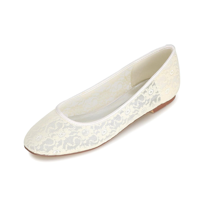 Flower-Ager 9872-19E Zapatos Planos De Encaje Nupcial De La Boda Correa De Tobillo De Las Señoras Resbalón En Los Zapatos De Ballet EU39|Ivory