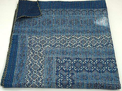 Blue Kantha Quilt, King Size Hand Stitch Kantha Ajrakh Bed-cover, Indian Bohemian Kantha Ajrakh Quilt ()