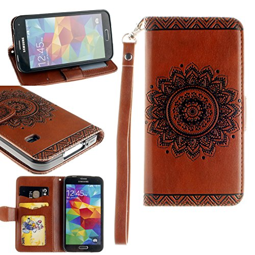 Black Sales Friday Cyber Sales Monday Sales & Deals Week 2018-For Samsung Galaxy S5 Wallet Case,Valentoria Mandragora Flower Premium Vintage Emboss Leather Wallet Pouch Case with Wrist Strap (Brown)