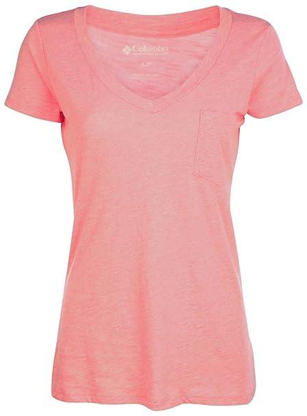 2843c8ac6cd Columbia Women's Siesta Key V-Neck Pocket T-Shirt-Heather Pink-XS at Amazon  Women's Clothing store: