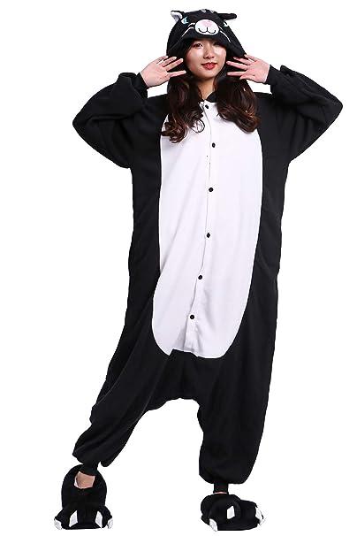 Pijama Animados Kigurumi Cosplay Gato Negro Animal para Adulto Unisex