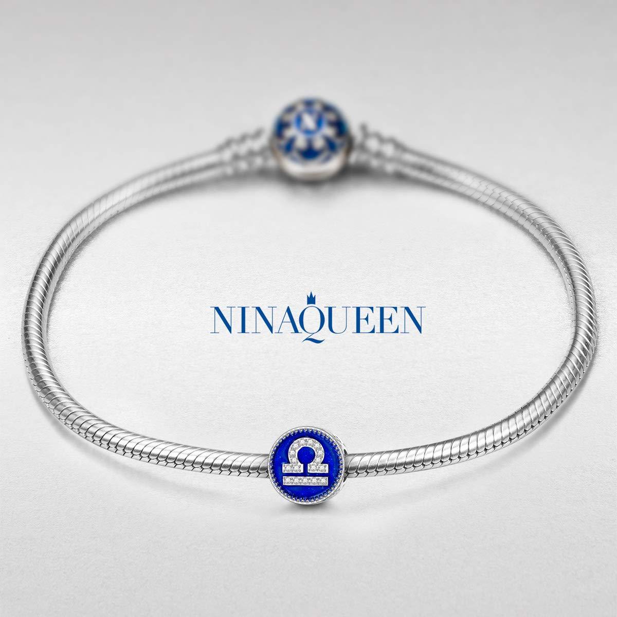 NINAQUEEN/® Charm //12 Signes du Zodiaque//Argent 925 avec Boite Cadeau Zircone Choix pour No/ël! /Émail