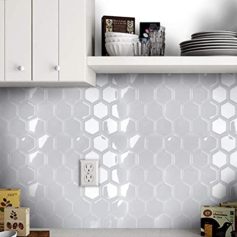 Mosaic Tile Stickers Stick On Bathroom Kitchen Home Wall Decals Self-adhesive