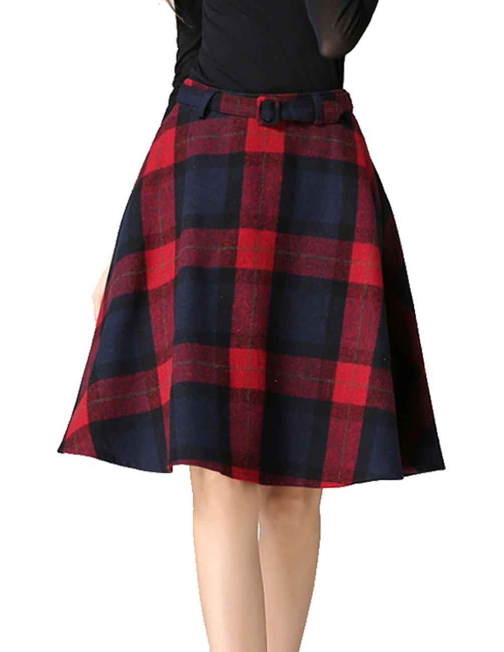 Womens Vintage Plaid Wool High Waist A-lineKnee Length Sakter Skirt with Pockets(S/US 2, Red) by Armear (Image #1)