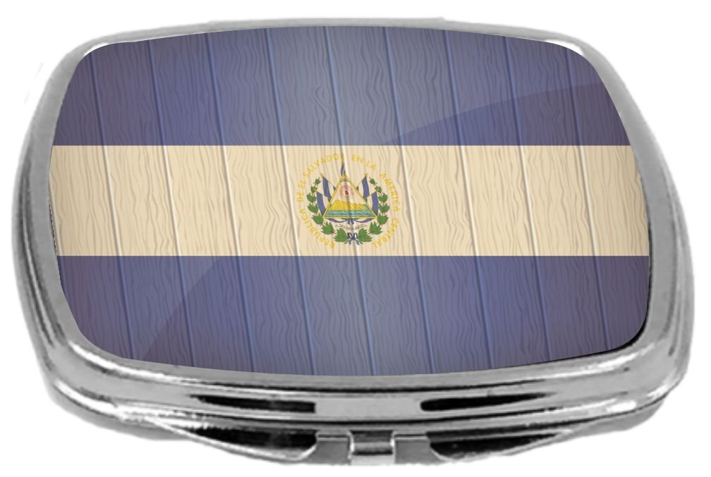Rikki Knight Compact Mirror on Distressed Wood Design, El Salvador Flag, 3 Ounce