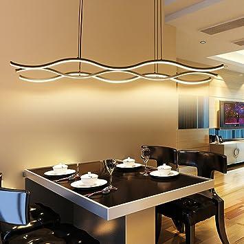 YHOOEE LED Pendelleuchten Moderne Esszimmer Kronleuchter Aluminium + Acryl  Welle Deckenleuchte Lampe Bar Schlafzimmer Wohnzimmer Dekoration