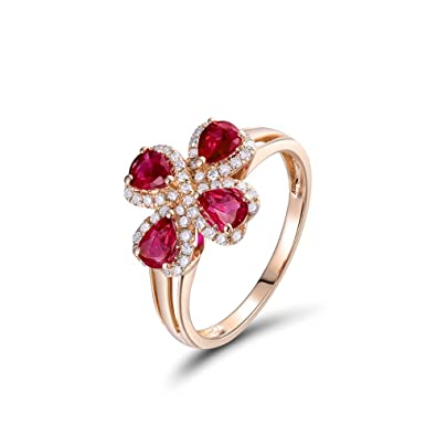 a9a960a9a17 Image Unavailable. Image not available for. Color  Lanmi Amazing Women s  Natural Ruby Solid 14K Rose Gold Real Diamond Engagement Ring