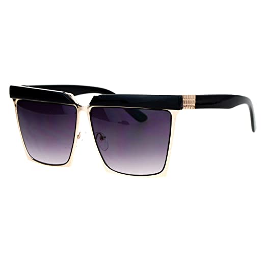 884d461afb Oversized Square Sunglasses Unisex Flat Top Hipster Fashion Shades Black  Gold