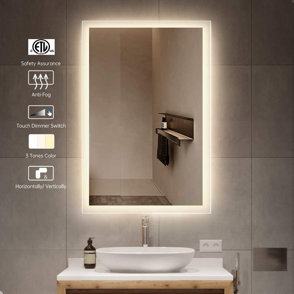 OKISS 28x20inch LED Bathroom Mirror Wall Mounted Mirror Bathroom Vanity Mirror with Smart Touch Control Brightness, Anti-Fog Makeup Mirror Horizontal/Vertical 2 Ways to Use