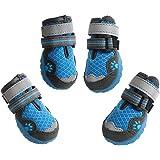 ASMPET ドッグブーツ 犬用靴 お散歩 軽く柔らかい 履きやすい ドッグシューズ 反射テープ付き 安全性、通気抜群 一足分4個セット (3, ブルー)