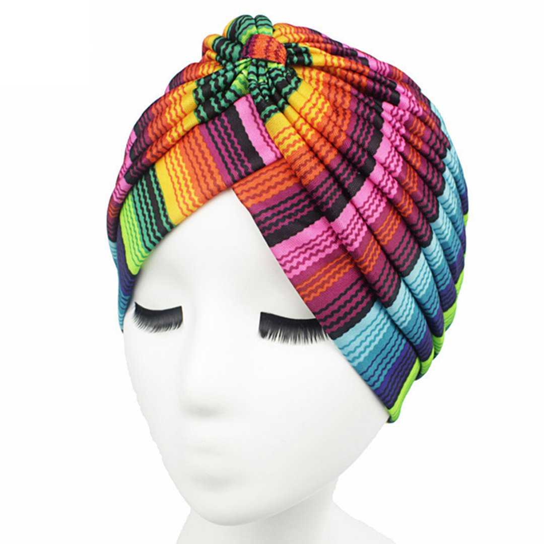 Women Indian Stretchy Turban Colorful Head Wrap Chemo Hat 1#