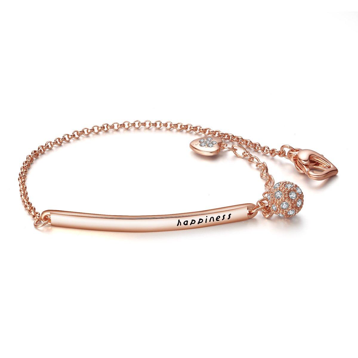 ASHMITA Charm Chain Bracelets for Women Rose Gold CZ Heart Bangle Jewelry Gift …