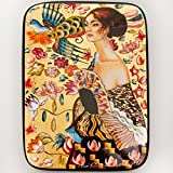 Beautiful Hand-painted Papier-mache Lacquer Box for Jewelry Lady with Fan (G. Klimt) Great Gift for Women