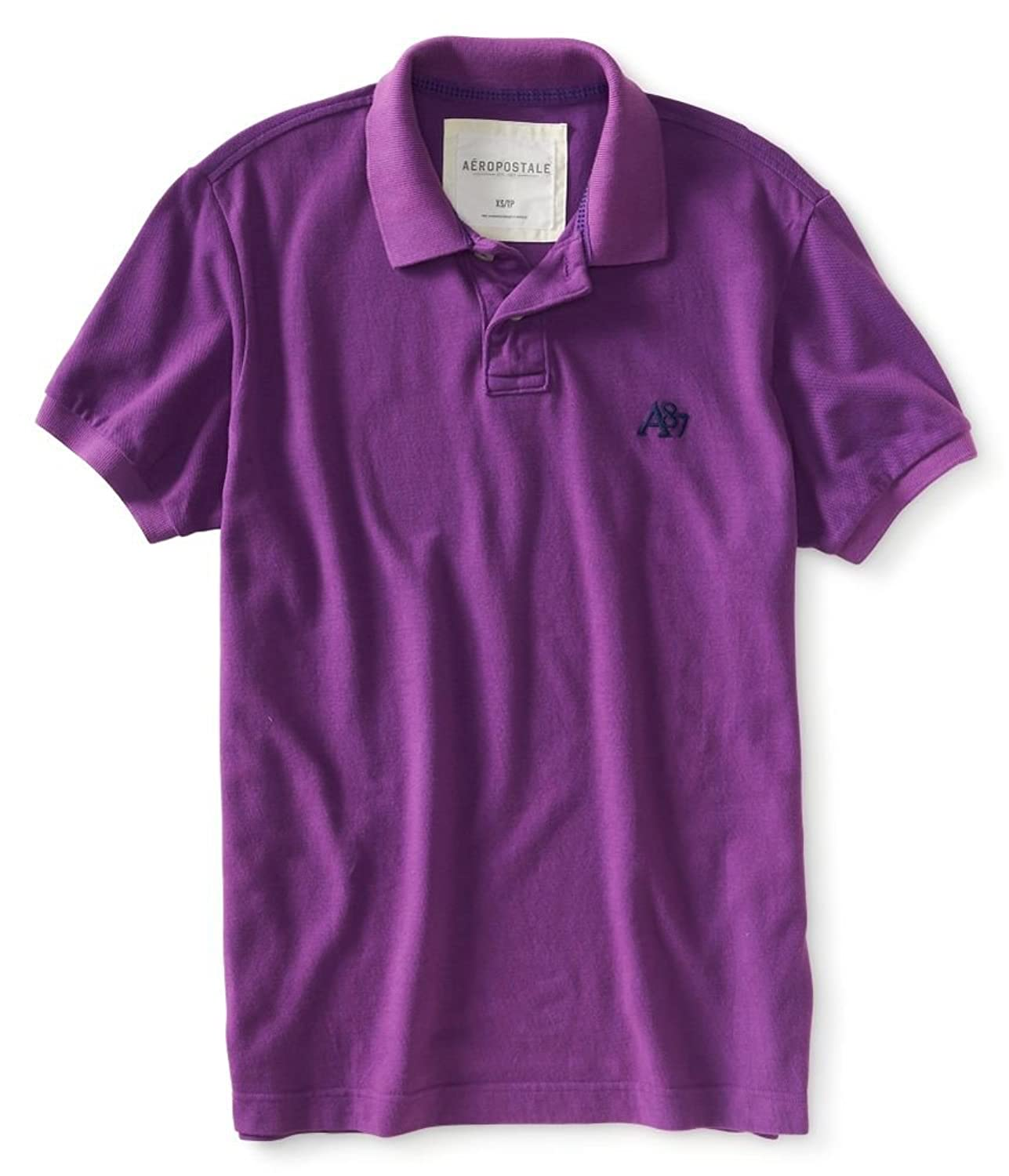 Aeropostale Men's Solid Heathered Rugby Polo Shirt