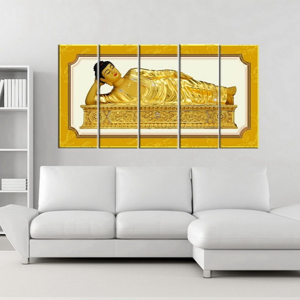 Amazon.com: Large Pictures Golden Buddha oil Painting Modern Canvas ...