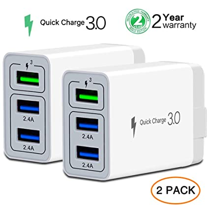 Amazon.com: Cargador de pared rápido adaptador, [QC 3.0 + 2 ...