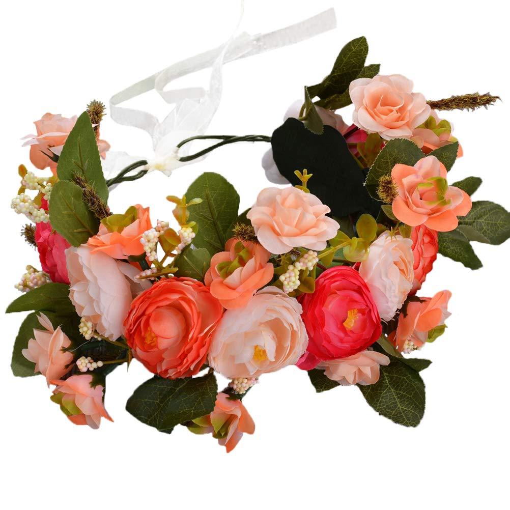Brikuinr Flower Wreath Crown Boho Flower Headband Hair Wreath Hair Garland Flower Halo Floral Headpiece Wedding Party Festival