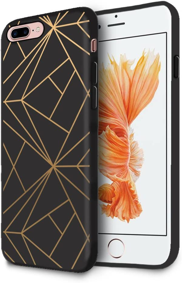 HELLO GIFTIFY HelloGiftify Geometric Gold Black Soft Gel Protective Case. Compatible with iPhone 7 Plus/iPhone 8 Plus