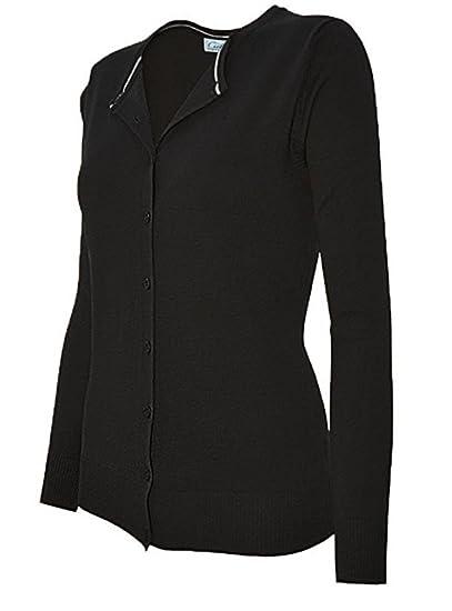 225987b578 CIELO Womens Long Sleeve Button Down Crew Neck Knit Cardigan Sweater Black