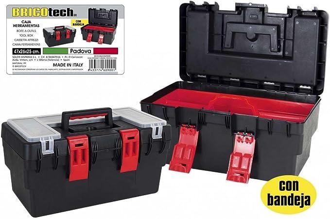 Bricotech - Caja herramientas con bandeja padova plástico: Amazon ...