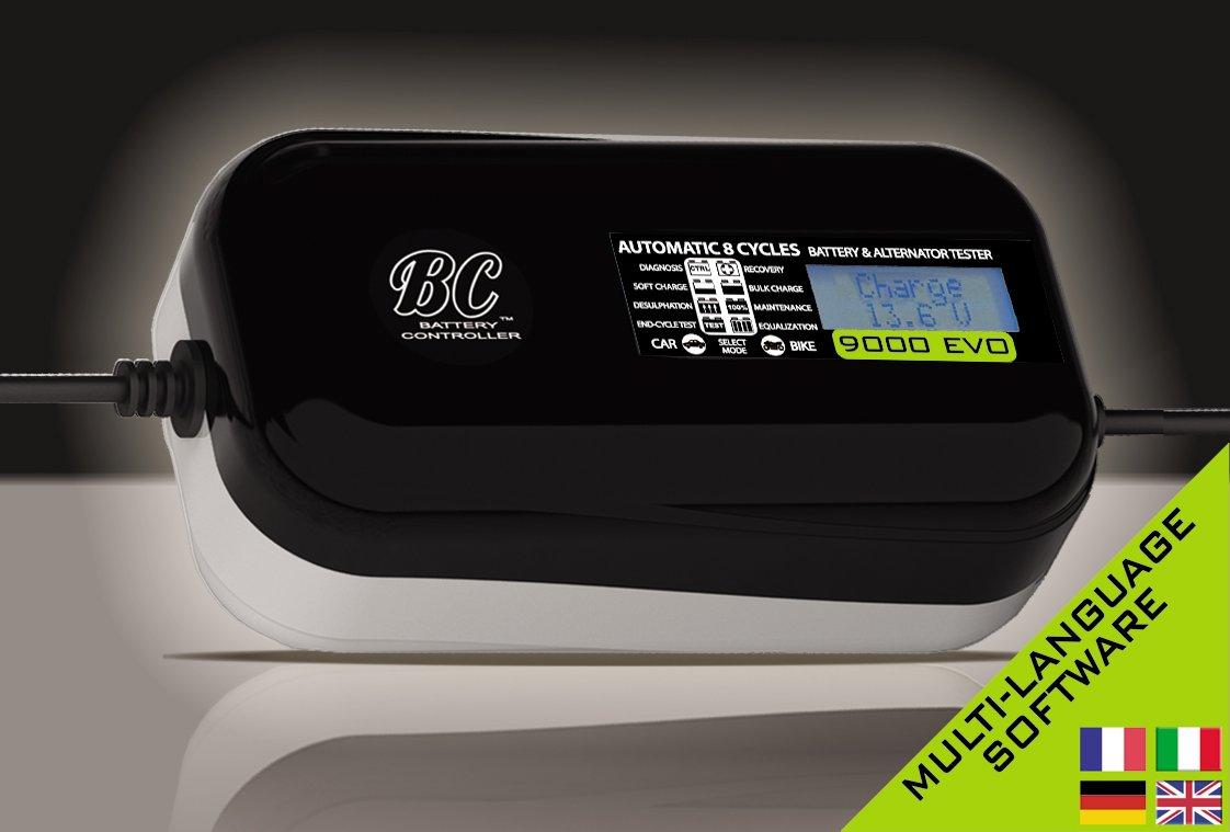 CHARGE/&TEST 12V 3.5A//1A Caricabatteria digitale e tester di batteria e alternatore per tutte le batterie 12V piombo//acido di auto e moto BC 3500 EVO