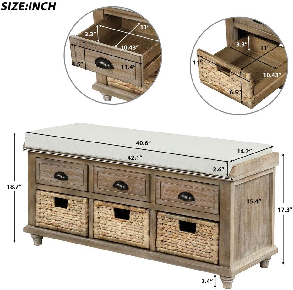 Espresso Rustic Storage Bench with 3 Drawers and 3 Rattan Baskets for Entryway Shoe Bench with Removable Cushion for Living Room and Bedroom