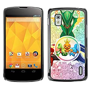 YiPhone /// Prima de resorte delgada de la cubierta del caso de Shell Armor - Criaturas lindas - LG Nexus 4 E960