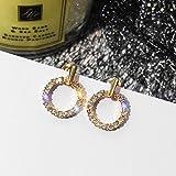 s925 Circle Earrings earings Dangler Eardrop Needles Women Girls Korean Personality Creative Gift Woman Short Hair Trend Small Mini Star Spring Models