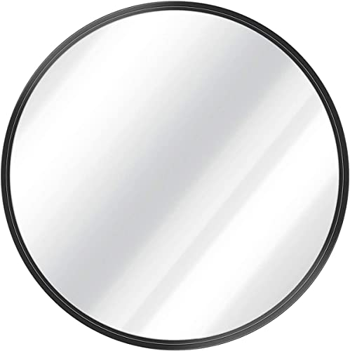 Grail 32 Inch Black Round Mirror