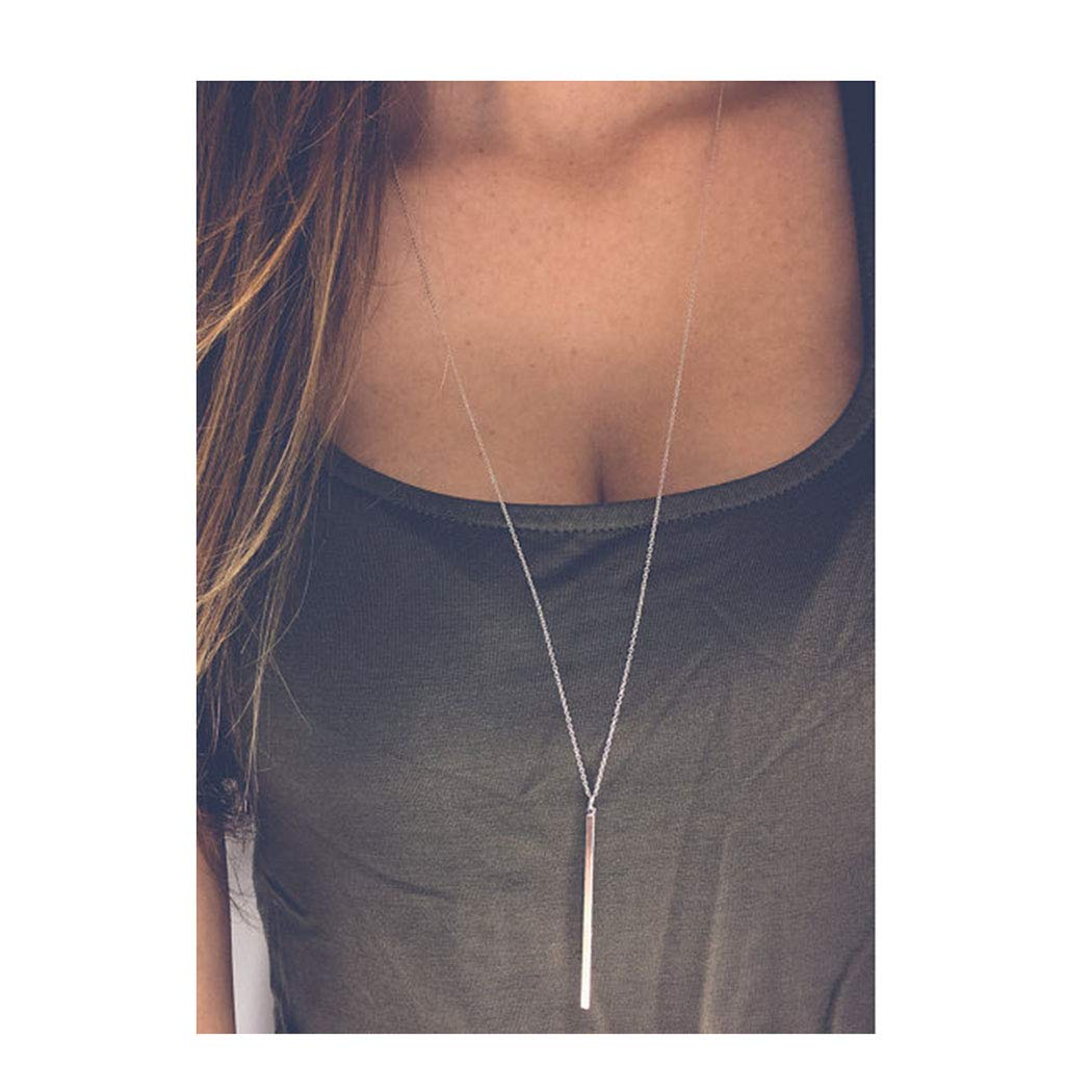 Artmiss Bar Pendant Necklace Gold Long Y-Necklace Delicate Lariat Chain Jewelry for Women and Girls (Gold)