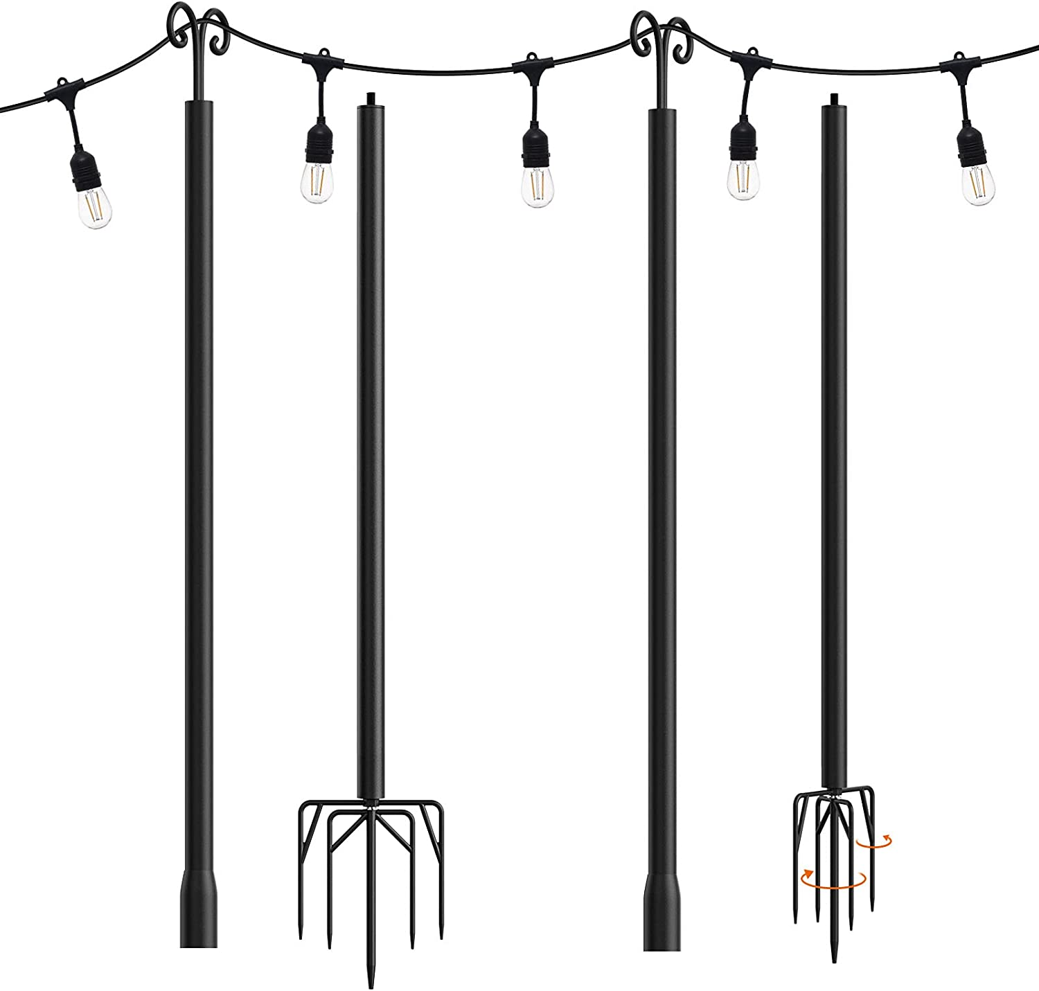 addlon 2 Pack String Lights Poles for Outdoors (2X 10ft), Heavy Duty Designed to Use Year-Round for Your Garden, Patio, Wedding, Party, Birthday Decorations.