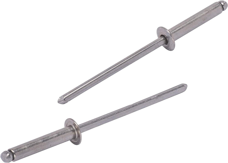 """Bolt Dropper #48 Stainless Rivets (100pc) 1/8"""" Diameter, Grip Range (3/8"""" - 1/2""""), All 18-8 Stainless Steel"""