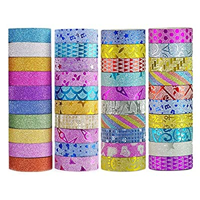 DIY Glitter Washi Tape Set - 40 Rolls Craft Decorative Tape Great for Bujo,Bullet Journal Accessories,Scrapbook, Arts and Crafts Projects by Yanqueens