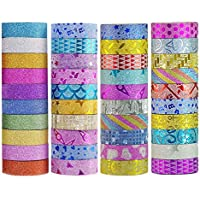 40 Count Yanqueens 3.5M Tape Set Glitter Masking Tape for DIY Craft Art
