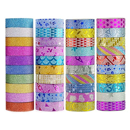 DIY Glitter Washi Tape Set - 40 Rolls Craft Decorative Tape Great for Bujo,Bullet Journal Accessories,Scrapbook, Arts and Crafts Projects