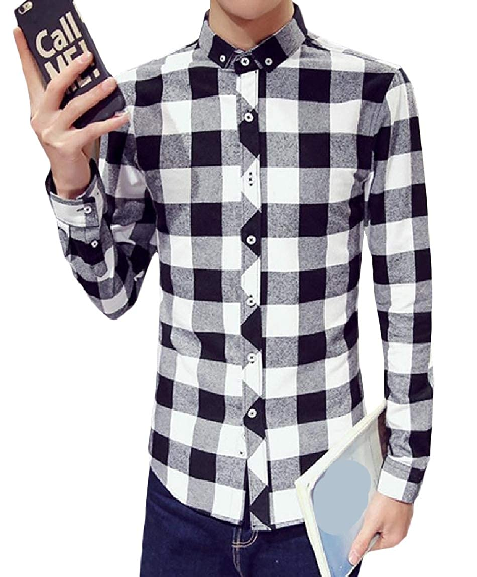 Mirrliy Mens Cotton Cotton Long-Sleeved Plaid Casual Dress Shirts Tops