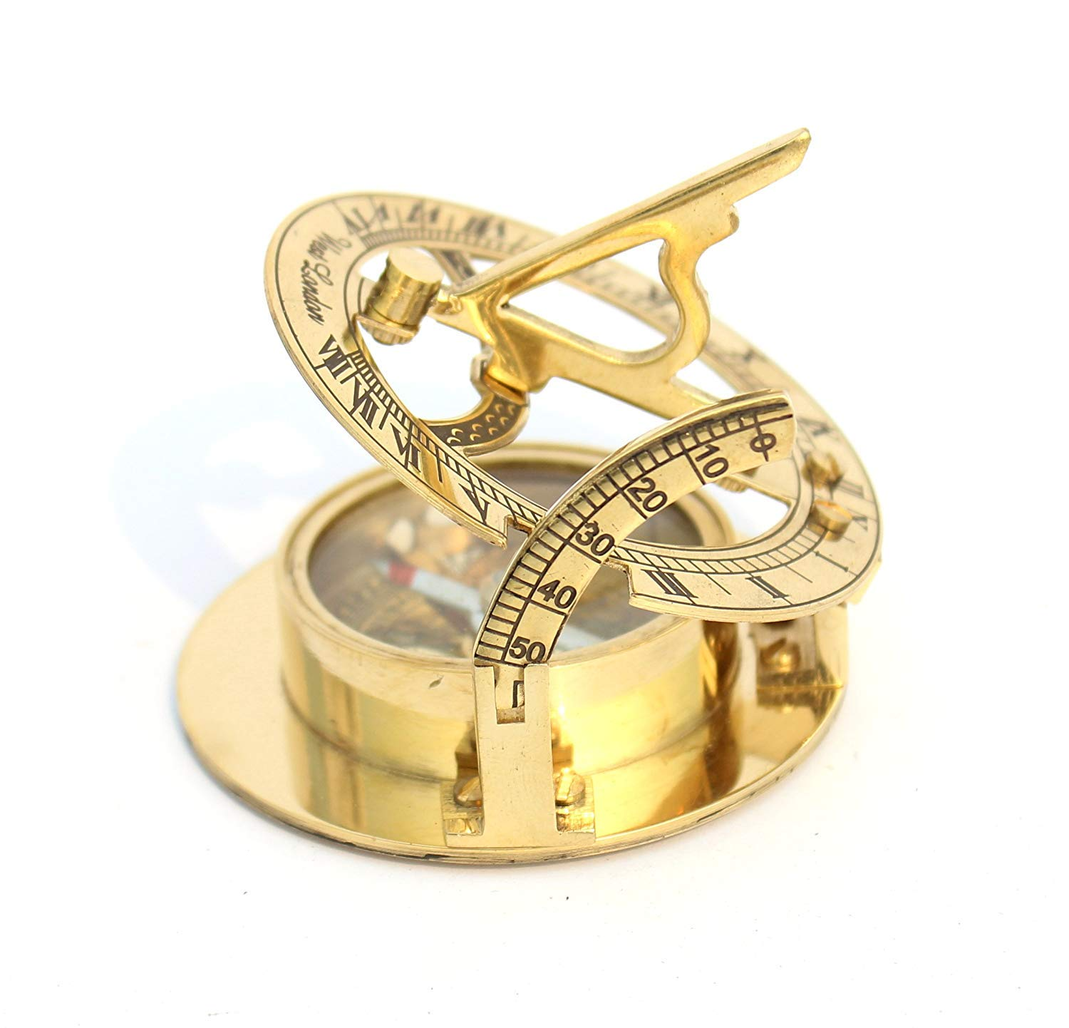 """poem CLASSICAL VINTAGE MARITIME /""""Nautical-Flat-Compass-Solid Shiny-Brass"""