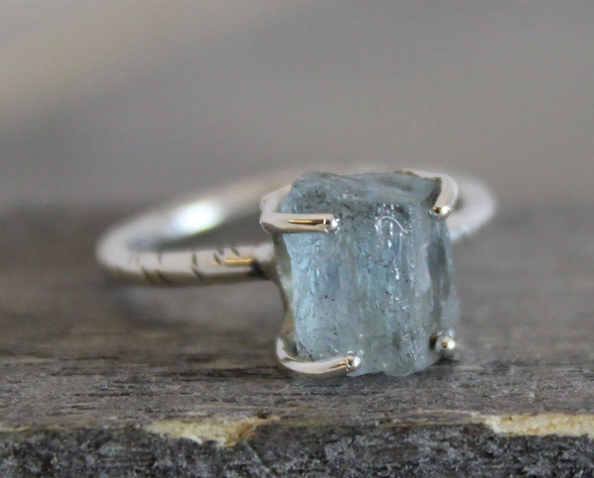 Raw Aquamarine Gemstone Sterling Silver Ring, size 8