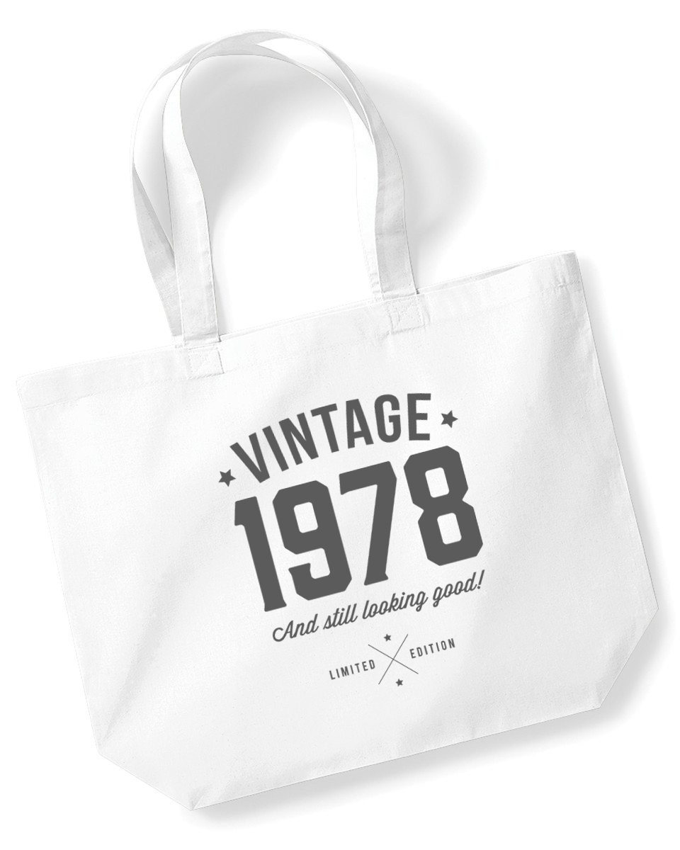 40th Birthday, 1978 Keepsake, Funny Gift, Gifts For Women, Novelty Gift, Ladies Gifts, Female Birthday Gift, Looking Good Gift, Ladies, Shopping Bag, Present, Tote Bag, Gift Idea (Black) Design Invent Print!