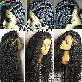 GAMAY HAIR Full Lace Wigs Human Hair Brazilian Virgin Hair Pre-Plucked Glueless 130%-180% Desnity Wigs Lace Front Wigs with Baby Hiar for Black Women