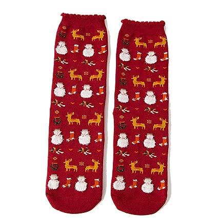ZHRUI Calcetines de Navidad Cálidos Patter Lindos Confort Calcetines encantadores Casuales (Color : Amarillo,