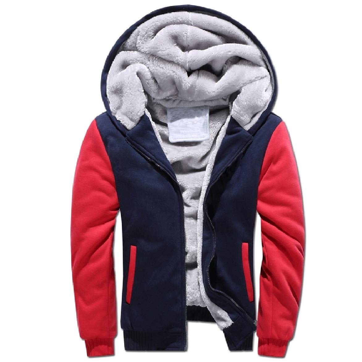 Abetteric Men Relaxed-Fit Thickening Plus Velvet with Zip Pure Color Sweatshirt Top