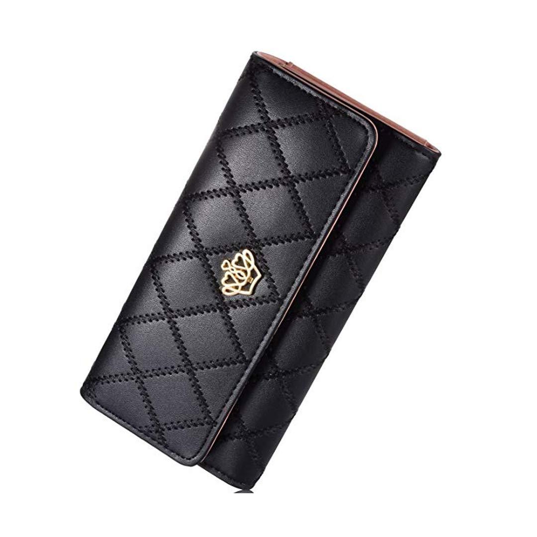 Damen Krone Geldbörse Süß PU Leder Elegant Portemonnaie (Schwarz) GUIL04