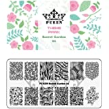 PUEEN Nail Art Stamping Plate - Secret Garden 01 - Theme Park Collection 125x65mm Unique Nailart Polish Stamping Manicure Image Plates Accessories Kit - BH000712