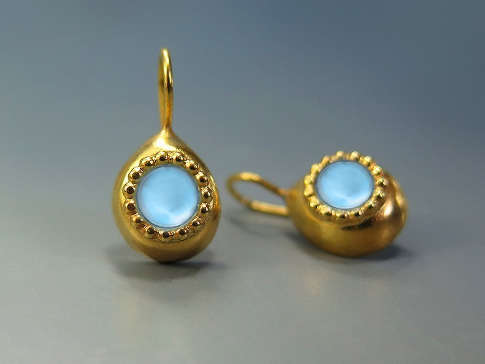 Blue Topaz Earrings 24K Gold Plated Silver (nickel free) Teardrop Earings December Birthstone Jewelry Topaz Jewelry Genuine Natural Gemstone Everyday Jewelry Light Blue Earring Unique Gifts For Women