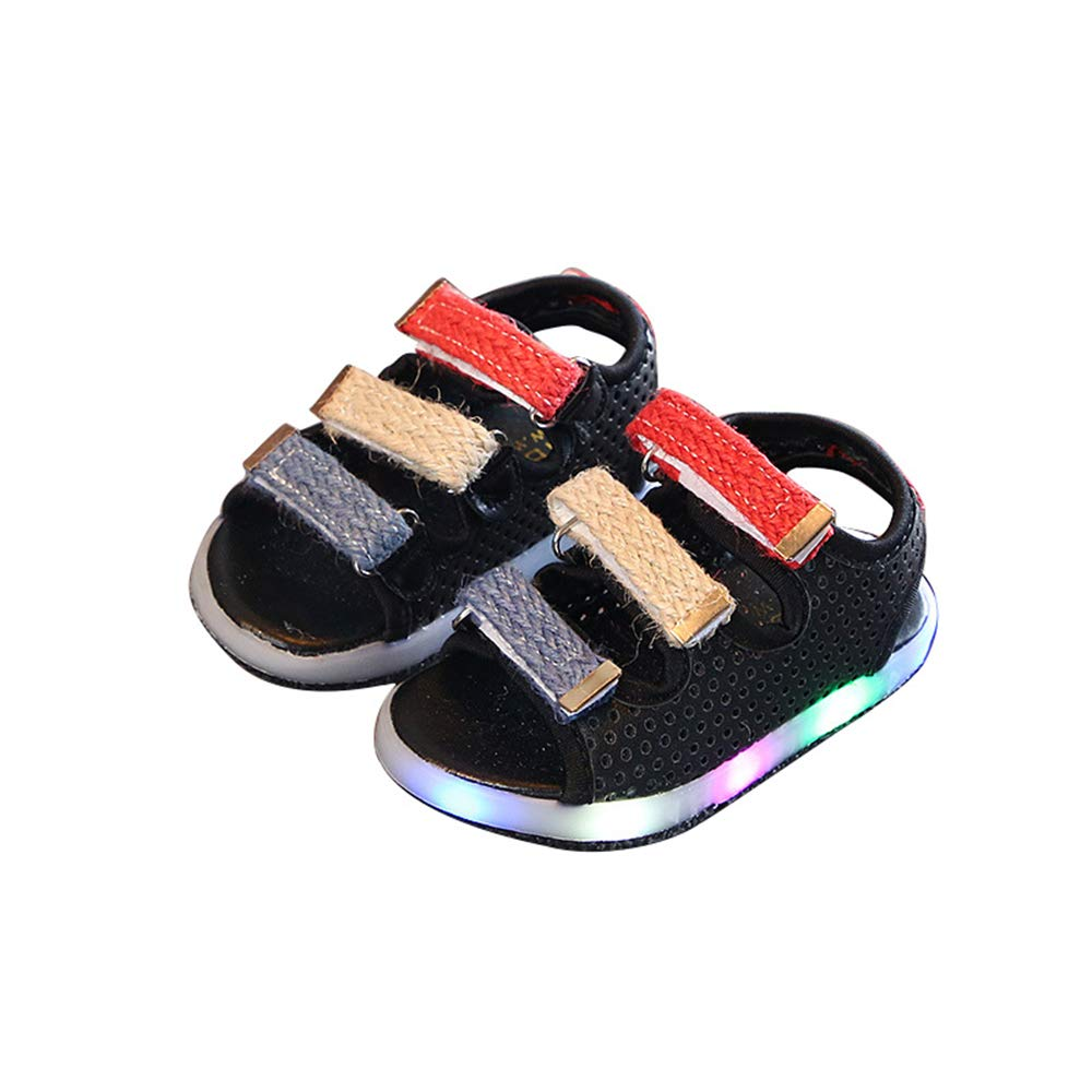 edv0d2v266 LED Kids Boys Girls Shoes Casual Light up Luminous Baby Sport Sneakers(Black 26/9 M US Toddler)