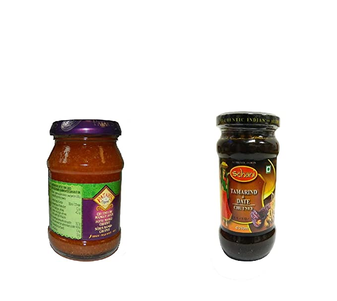 Pack con 2 chutneys auténticos de la India- Pataks mango dulce, Schani tamarindo y